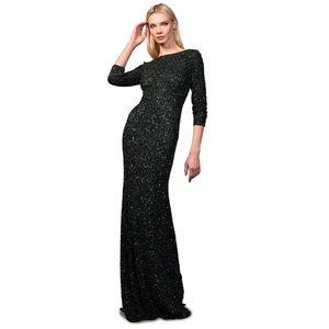 NWT Theia black sequin mermaid gown